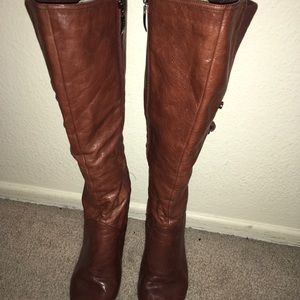 Guess leather brown high boots